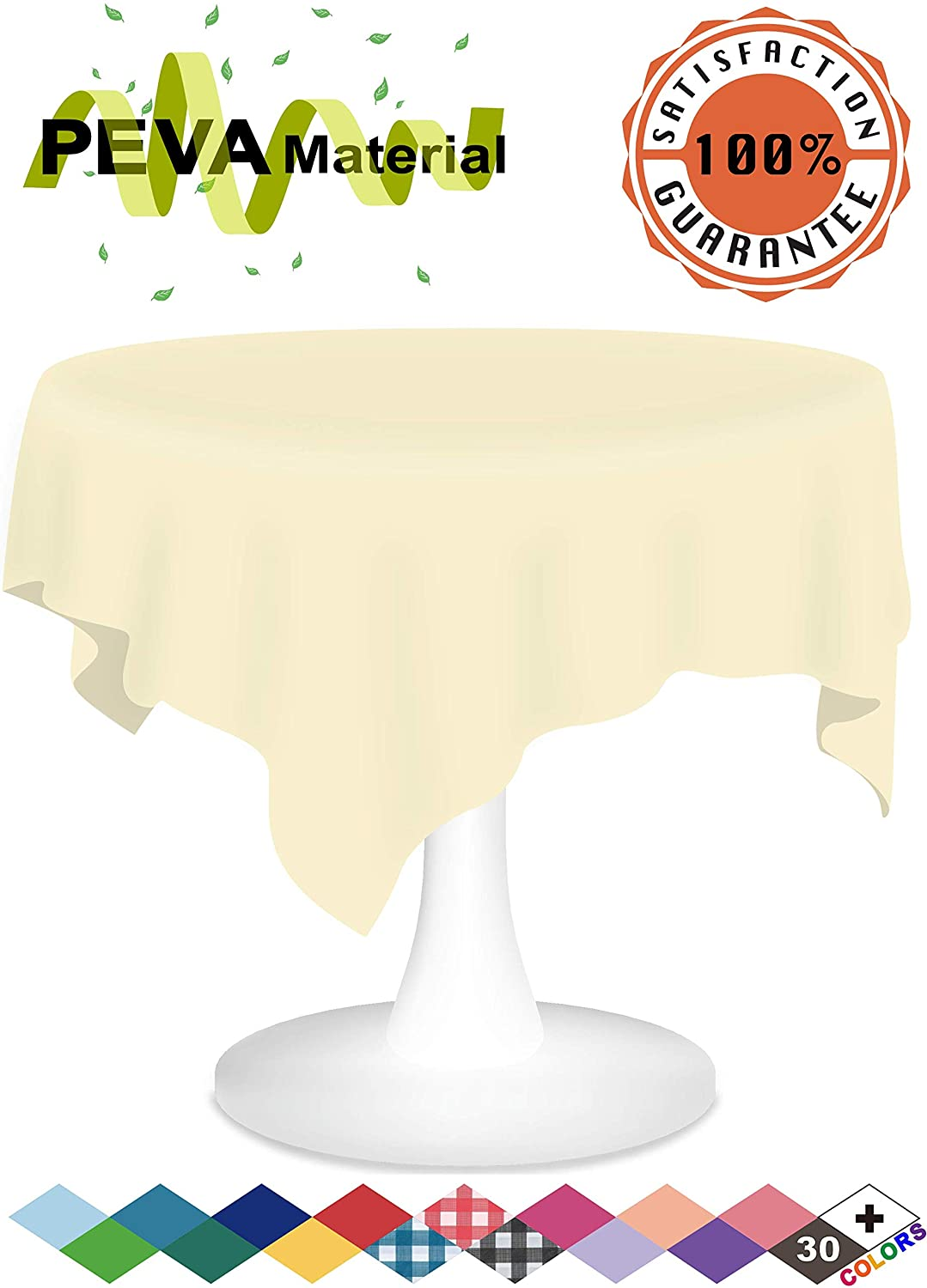 Ivory Plastic Tablecloths 12 Pack Disposable Table Covers 84 Inch Circle Shower Party Tablecovers PEVA Vinyl Table Cloths for Round Tables up to 6 ft and Picnic BBQ Birthday Wedding Catering Banquet