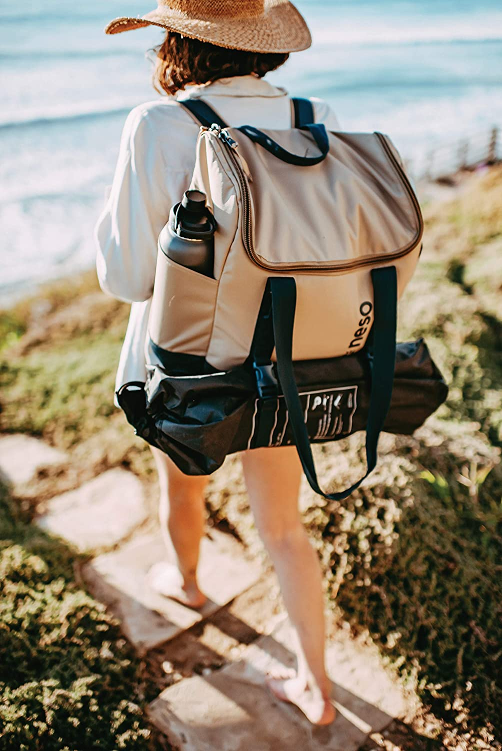 Neso Beach Adventure Tote, Waterproof Pocket, Carry as a Tote or Backpack(Tan)