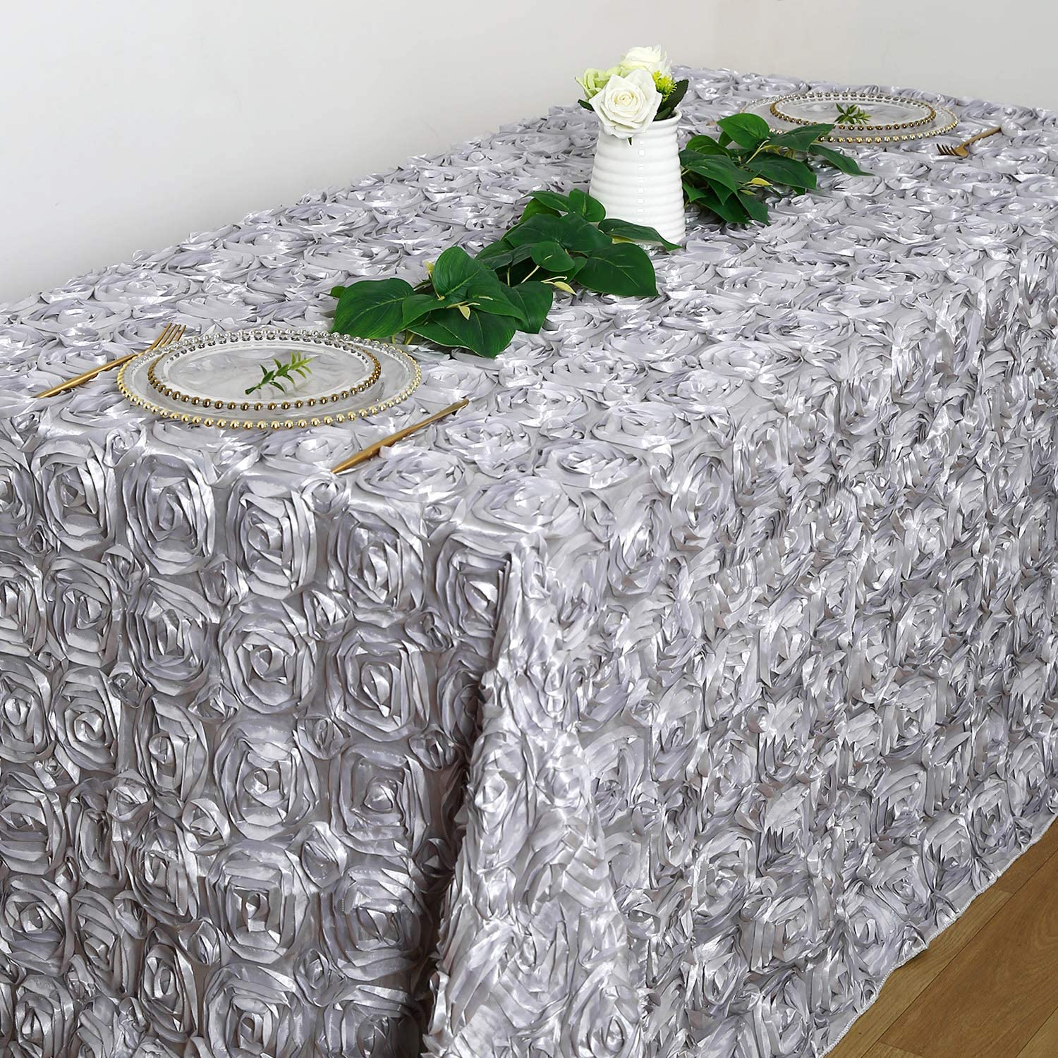 Rectangle Silver Rosette Tablecloth 90