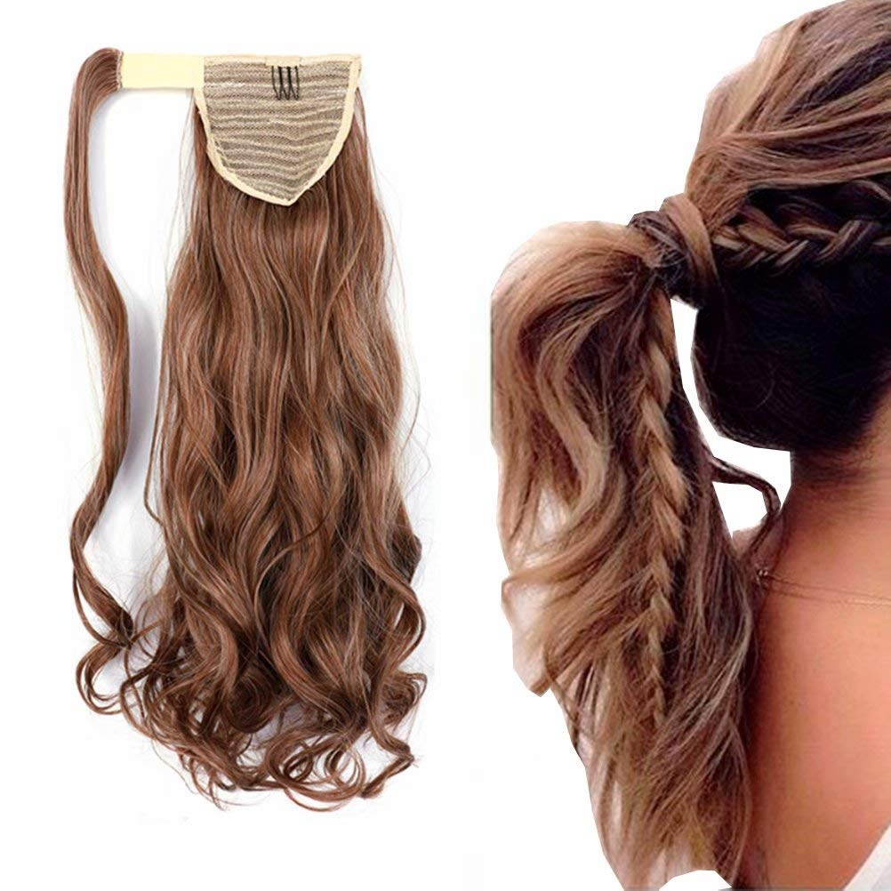 iLUU Womens Ponytail Clip in Hair Extensions 18 inches Long Curly Wavy Hairpiece 100g #30B/613 Piano Color Auburn Highlighted with Bleach Blonde Synthetic Ponytail Wrap Around Hair Extension