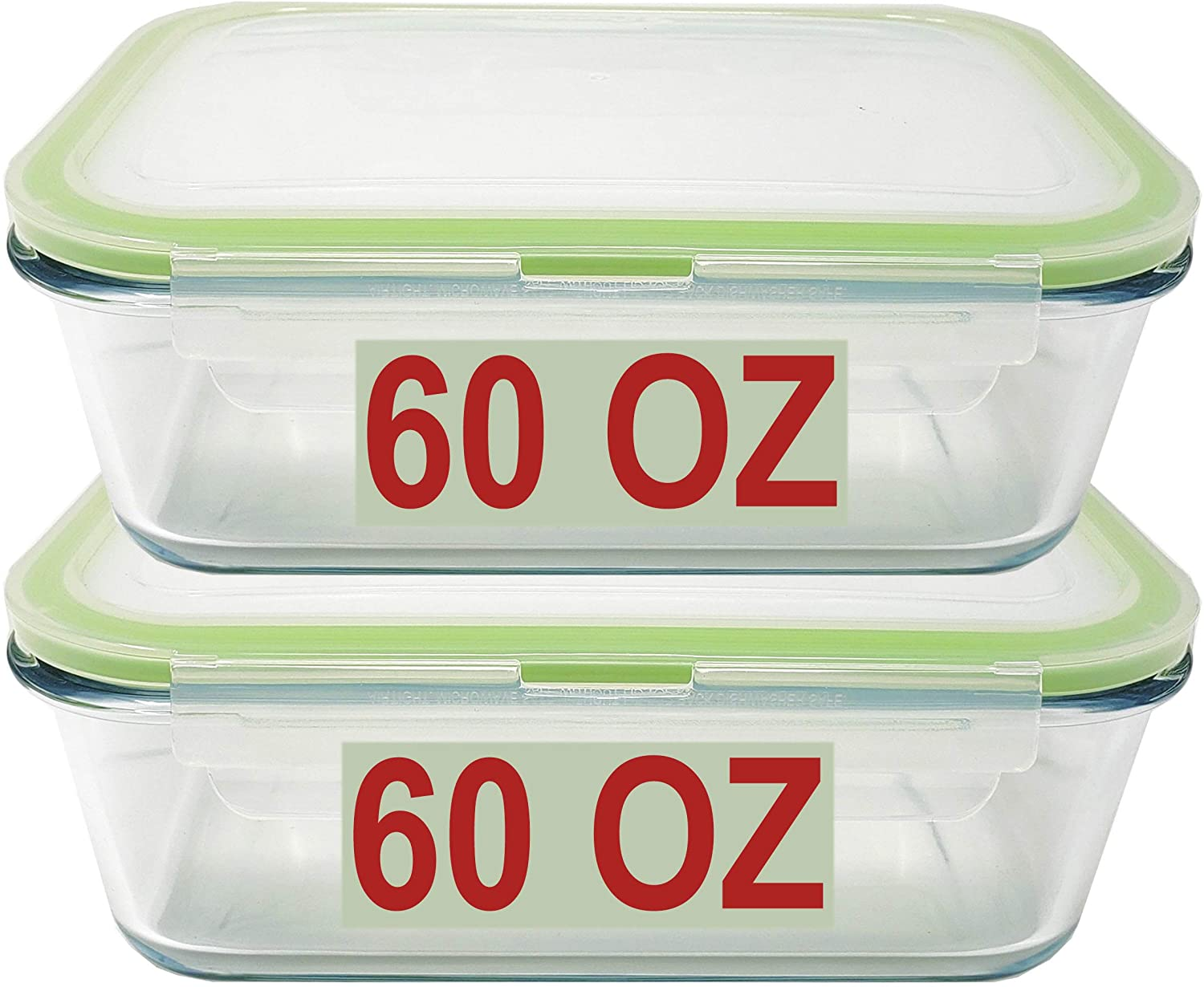 60 OZ LARGE Glass Food Storage Container Baking Dish Set with locking Airtight lids set of 2 Meal Lunch Prep Containers Storing & Serving Food Leakproof Microwave, Oven, Freezer and Dishwasher Safe