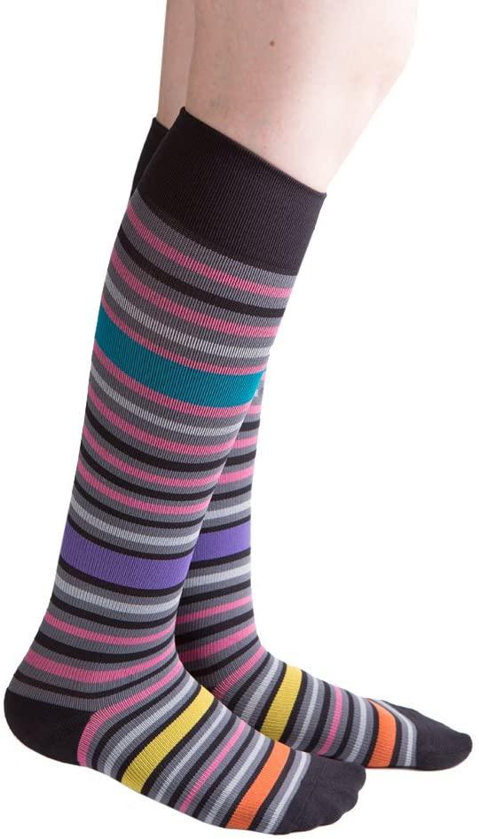 VenaCouture Womens 15-20 mmHg Compression Socks, Bold Bayadere Stripe Pattern