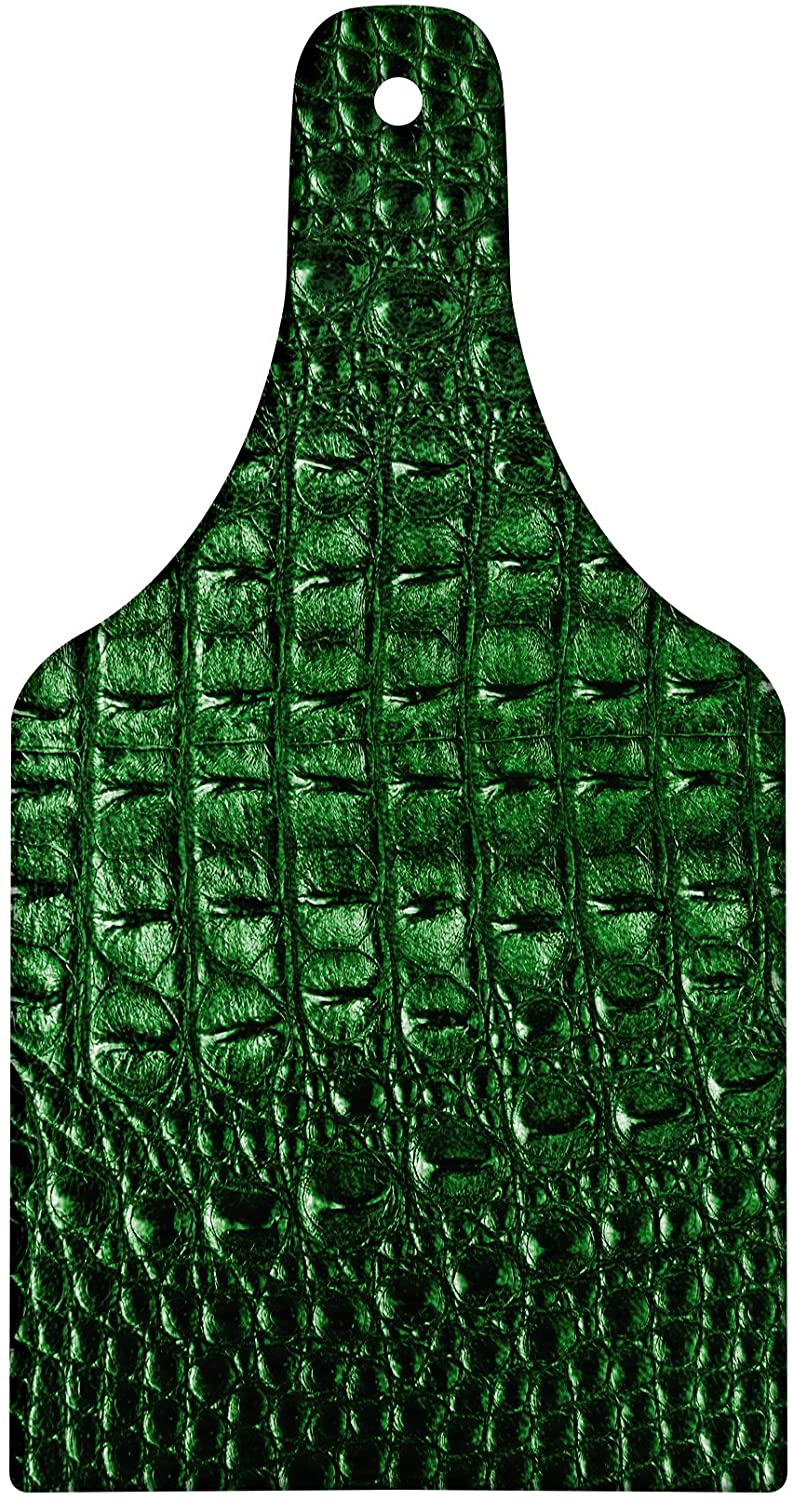Lunarable Animal Print Cutting Board, Crocodile Skin Leather Pattern Dangerous Wild Exotic Animals Lifestyle Illustration, Decorative Tempered Glass Cutting and Serving Board, Wine Bottle Shape, Green