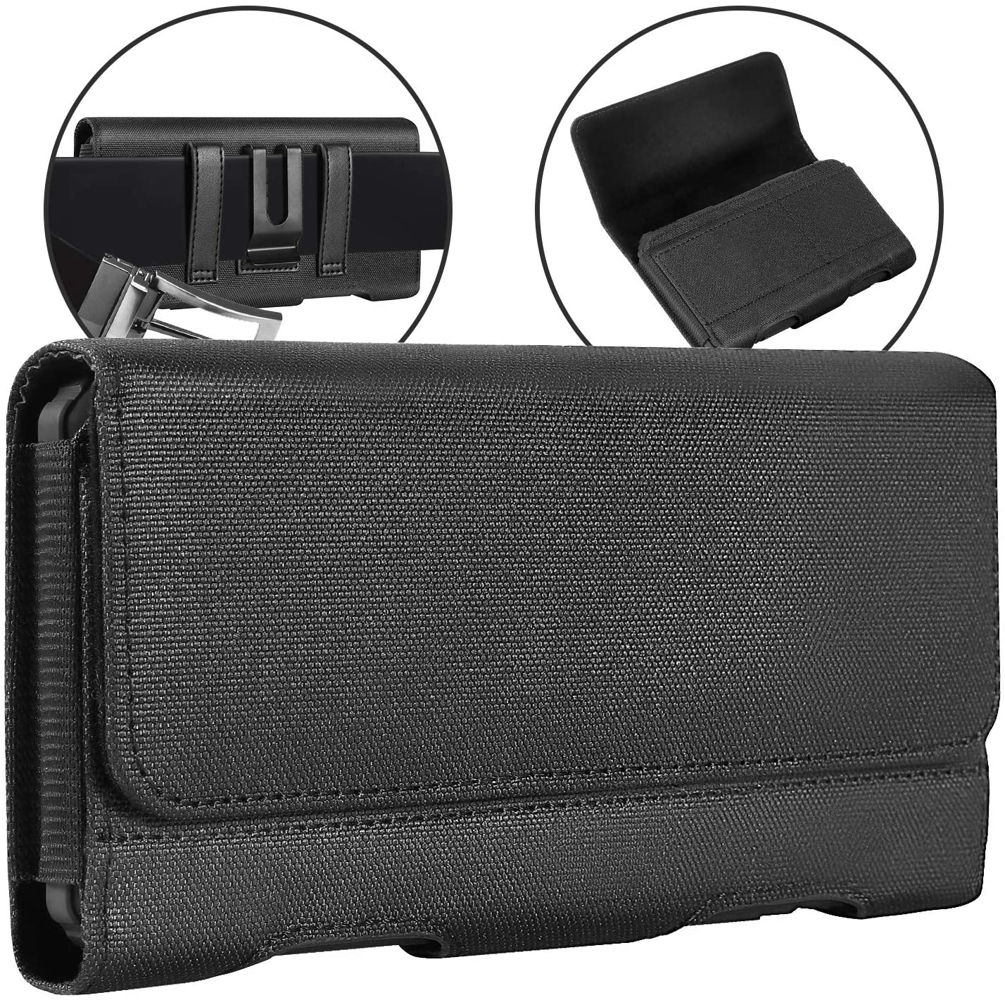 Mopaclle Galaxy S10 Plus Holster Case, Galaxy S20 Plus Belt Clip Case, Durable Nylon Cell Phone Pouch Belt Holder Cover for Samsung Galaxy S10 Plus/S9+/S8+ (Fits Phone with Case On) Black