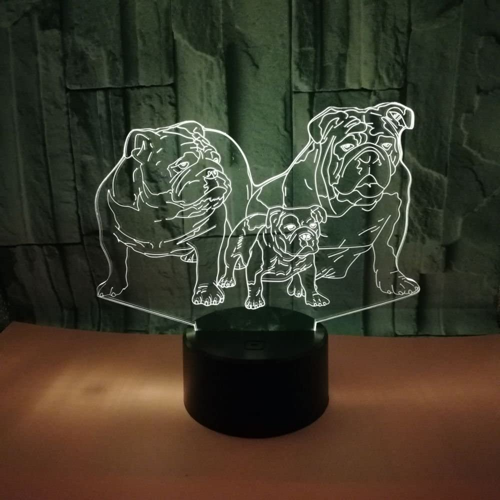 3D Dog Night Light USB Touch Switch Decor Table Desk Optical Illusion Lamps 7 Color Changing Lights LED Table Lamp Xmas Home Love Brithday Children Kids Decor Toy Gift