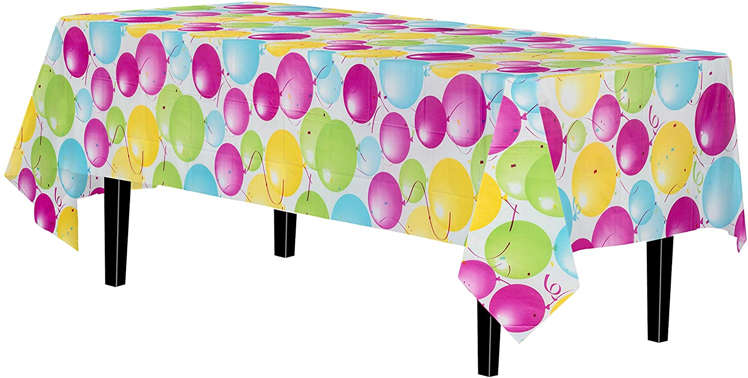 Exquisite 12 Pack Premium Quality Balloon Design Plastic Tablecloth - 54 Inches by 108 inches of Fabulous Rectangle Birthday Tablecloth with Balloon Design for 8 Foot Party Table…