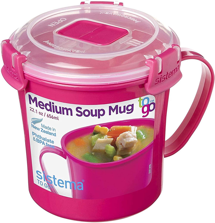 Sistema Microwave Collection Soup Mug 31.7oz, 4 Cup, Medium, Pink