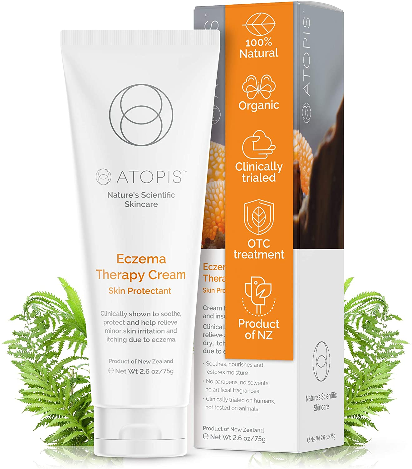 Clinically Proven OTC Organic Eczema Therapy Cream – Natural Soothing Relief for Adults, Children & Babies - Treatment for Dry Itchy Skin - Face and Body - Reduce Redness, Scaling & Irritation 2.6 oz