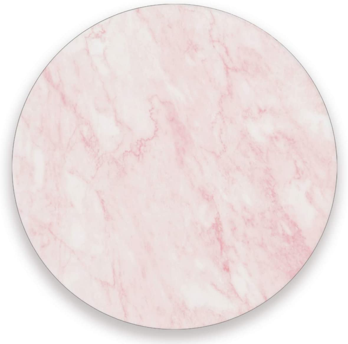 Olinyou Pink Marble Art Coaster for Drinks 1 Pieces Absorbent Ceramic Stone Coasters with Cork Base