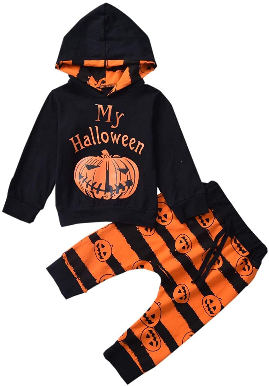 Newborn Baby Boy Girl Halloween Clothes My First Halloween Pumpkin Costume Hoodie Striped Pants Outfits