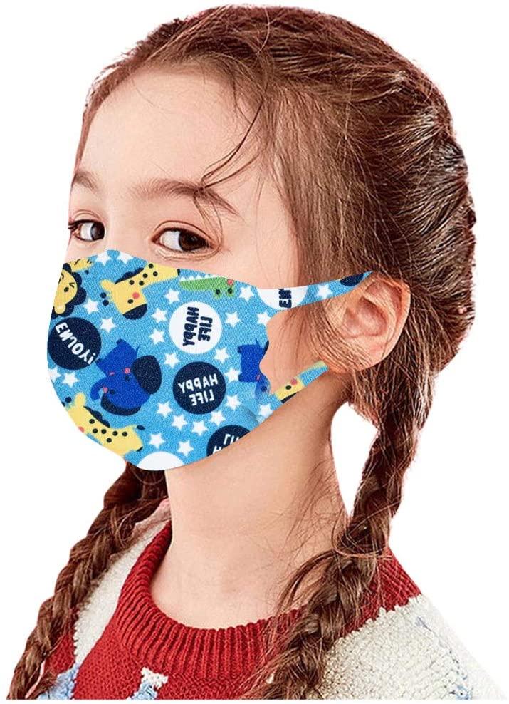 Gogoty Kids Cartoon Pattern Ice Silk Reusable Face Scarf Bandanas Breathable Seamless Children Outdoor Back to School