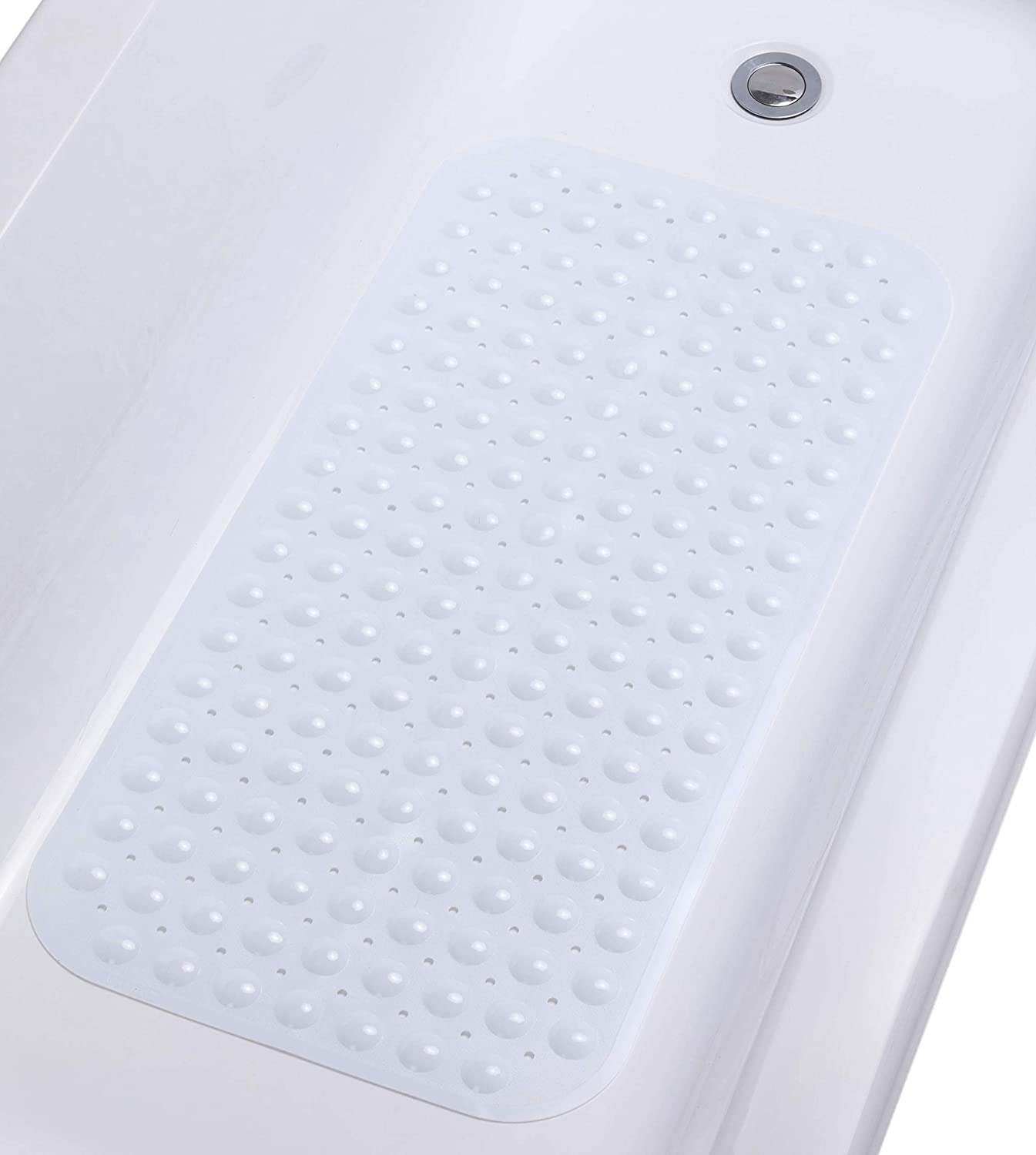 "TIKE SMART Large Non-Slip Bathtub & Shower Mat 31""x16"" (Smooth/Non-Textured Tubs Only) Safe, Clean, Anti-Bacterial, Machine-Washable, Superior Grip&Drainage, Vinyl, Opaque White"
