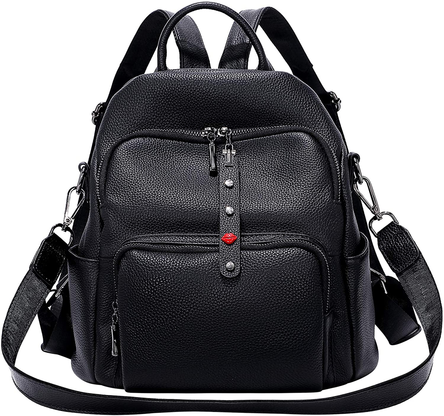 OVER EARTH Genuine Leather Backpack Purse for Women Anti theft Backpack Rucksack Purse Convertible Shoulder Bag Medium