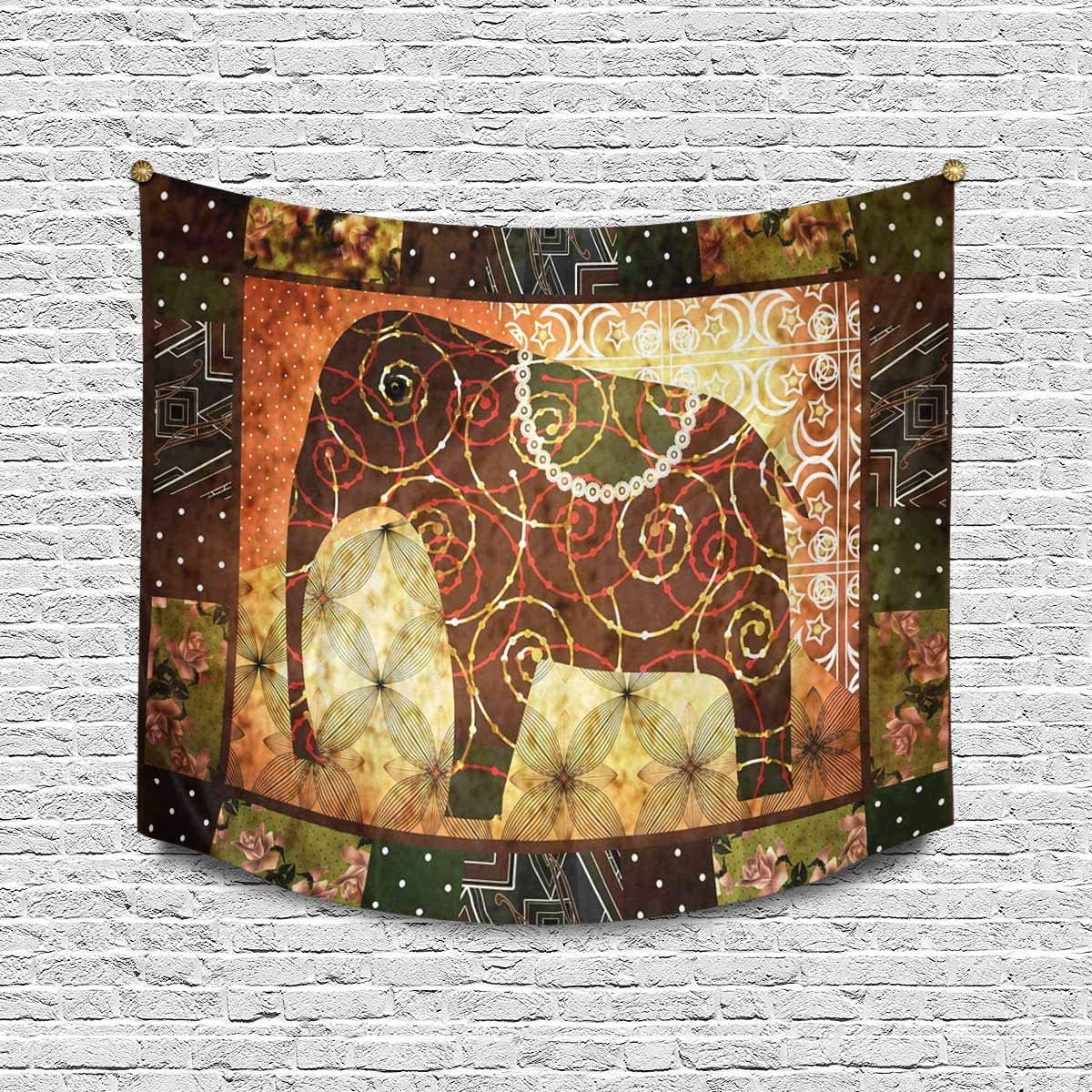 INTERESTPRINT Patchwork African Elephant Grunge Galaxy Vintage Print Tapestry Wall Hanging Art Cotton Linen Tapestries for Living Room Bedroom Dorm Decor, 60