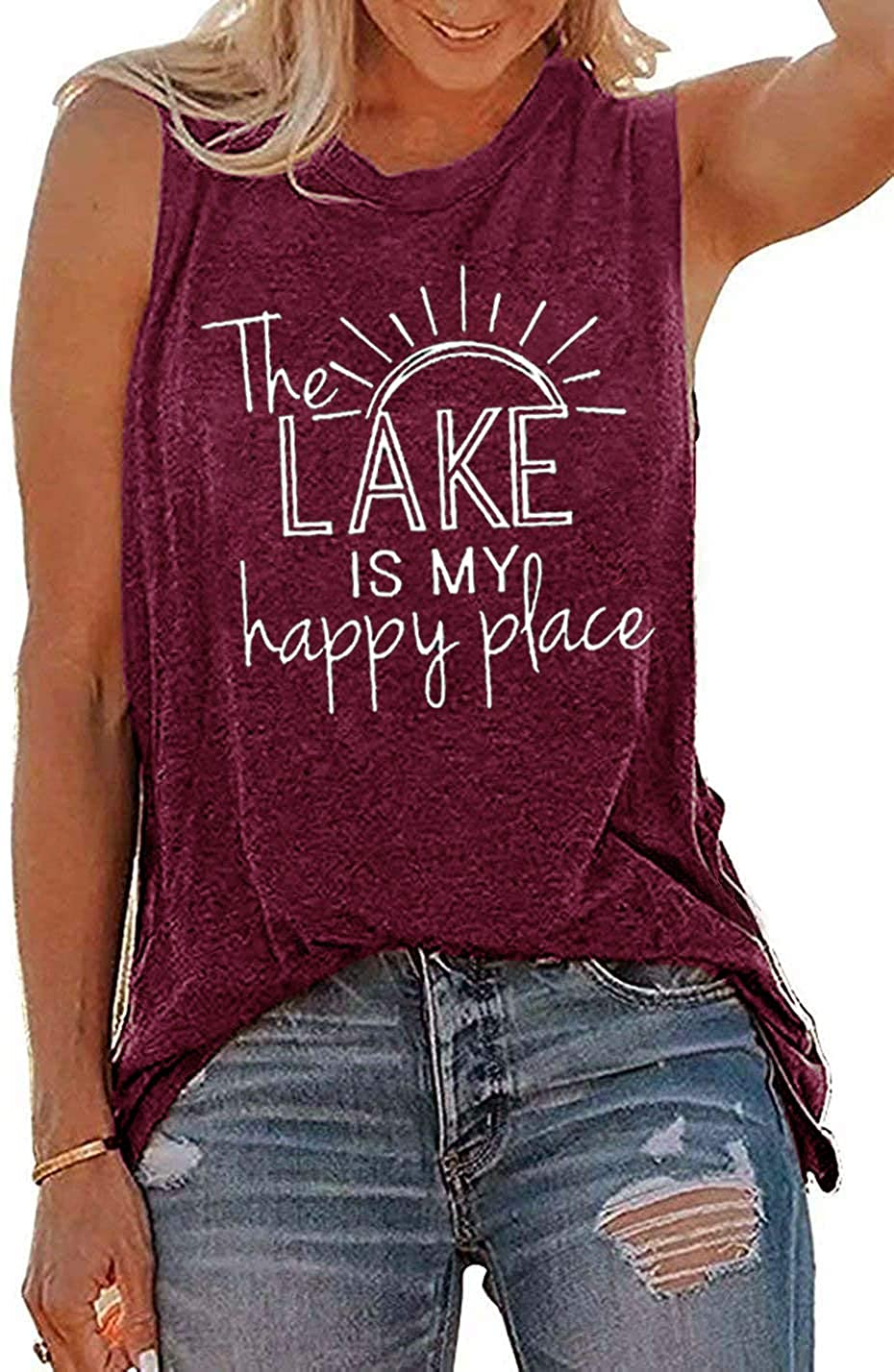 Oriental Pearl Lake Life Tank Top for Women The Lake is My Happy Place Casual Summer Sleeveless Graphic Workout Tank Tops