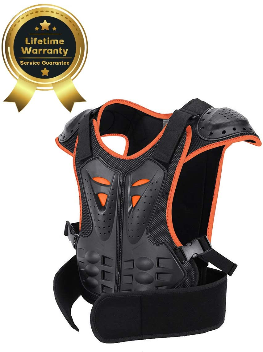 Kids Chest Protector Dirt Bike Motorcycle Protective Armor Youth Riding Biking Vest Jacket Motorbike Motocross Full Body Back Spine Armor Gear Guard Protection For Snowboarding Off-Road Cycling Skiing