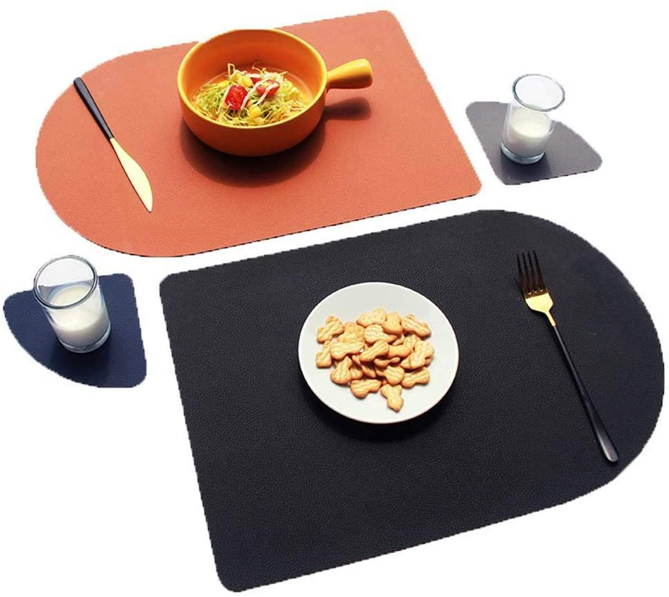 YITAQI Table Mat Placemat,Nordic Style Leather Easy to clean Non-Slip Home Decor Dinner Coaster Heat Insulation Pads Tableware Pad(pink&grey 2)