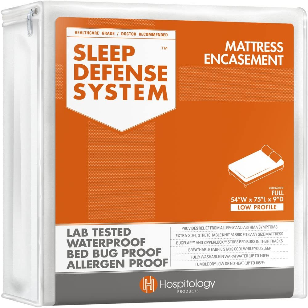 HOSPITOLOGY PRODUCTS Sleep Defense System - Zippered Mattress Encasement - Full/Double - Hypoallergenic - Waterproof - Bed Bug & Dust Mite Proof - Stretchable - Low Profile 9