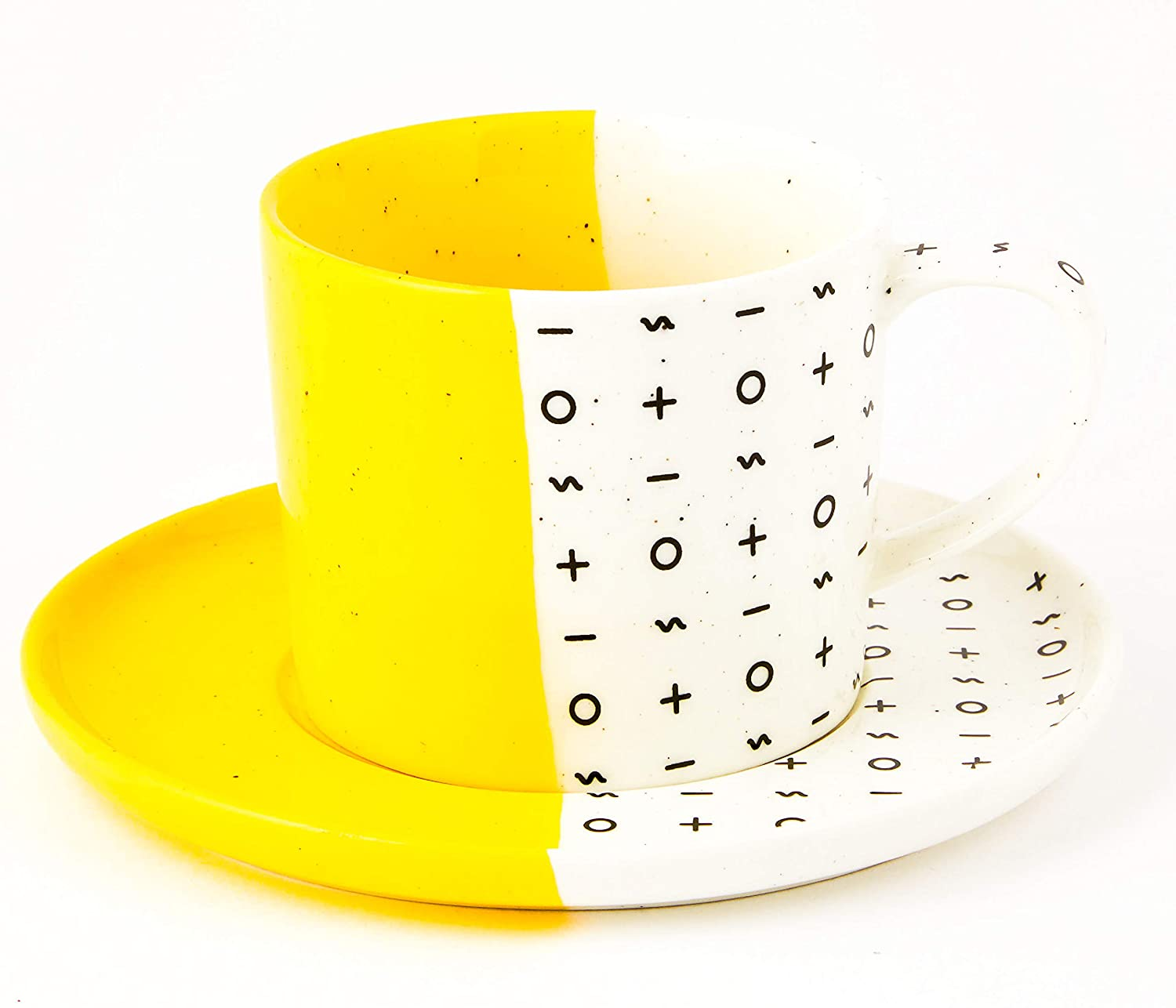 Dipped Two Tone Cup & Saucer Set (Yellow) | Colourful High Grade Ceramic Coffee & Tea Mug Set, Inspired Pastel Finish, Perfect Mug Gift, 9oz by Root7