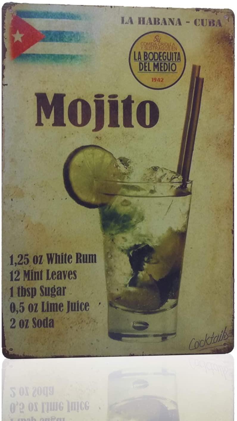 MMOUNT Mojito La Habana Cuba Mojito Drink Tin Sign Retro Metal Bar Decor 8 X 12Inch