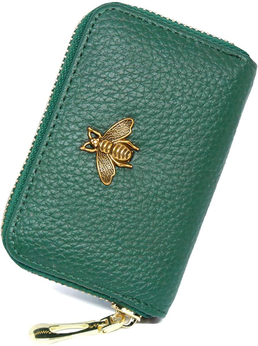 imeetu RFID Credit Card Holder, Leather Zipper Card Case Wallet for Women S