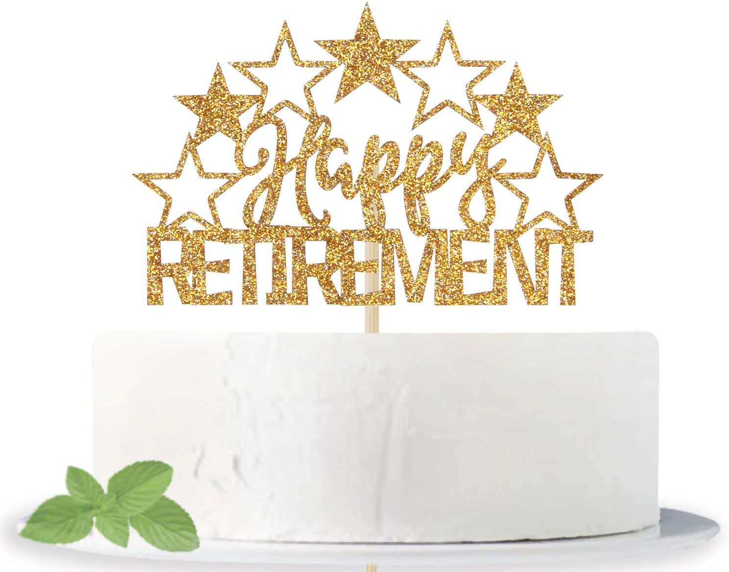 Gold Glitter Happy Retirement Cake Topper -Officially Retired - Retirement Party Decoration Supplies