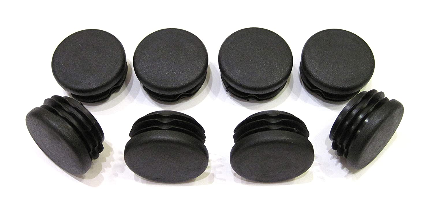 8pcs Pack: 1 1/4 Inch Round Black Plastic End Cap (for Hole Size from 1 1/16 to 1 3/16, Including 1 1/8 inches), Furniture Finishing Plug