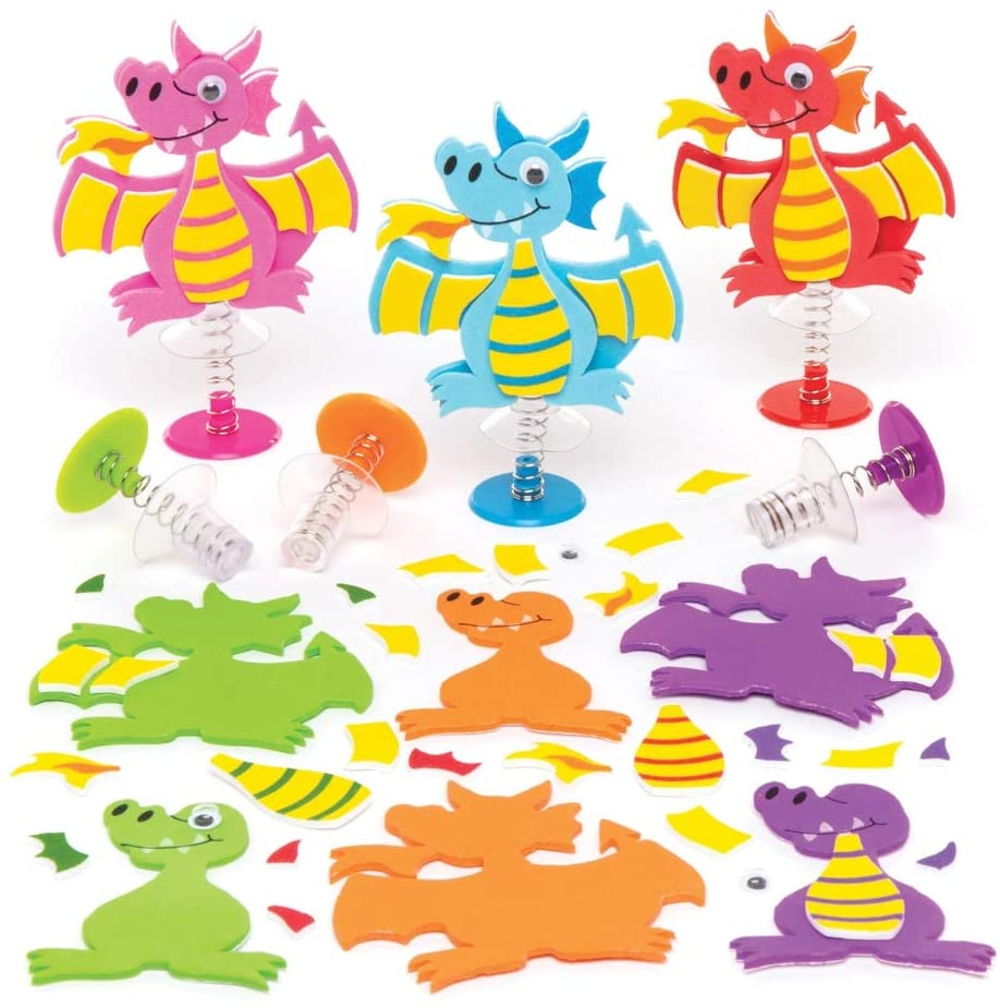 Baker Ross Dragon Jump-up Kits (Pack of 6) Ideal for Kids to Assemble and Play with