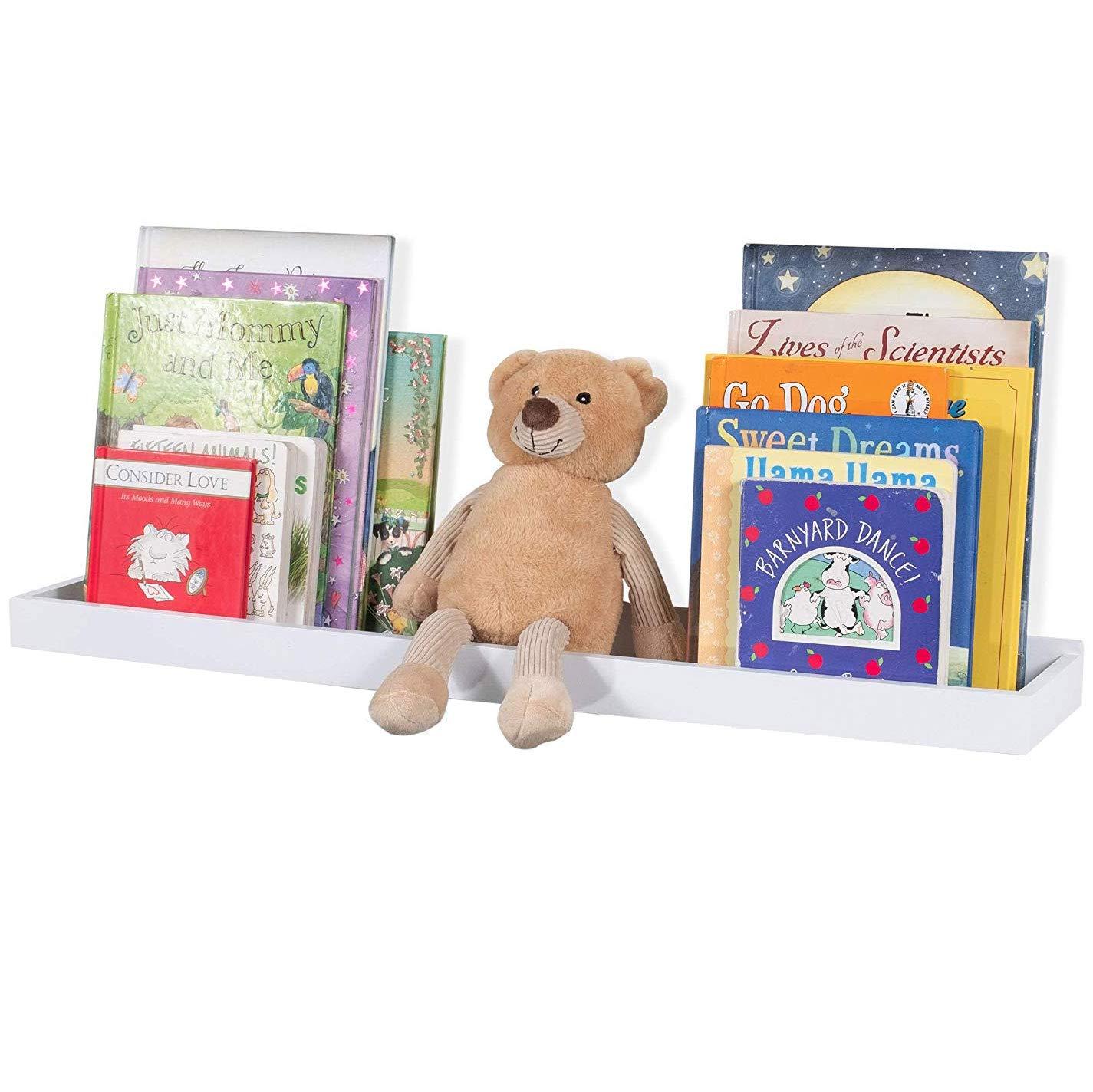 Wallniture Philly White Wall Shelf Kids Room Decor, Floating Book Shelf and Tray Toy Storage Organizer, 23.75