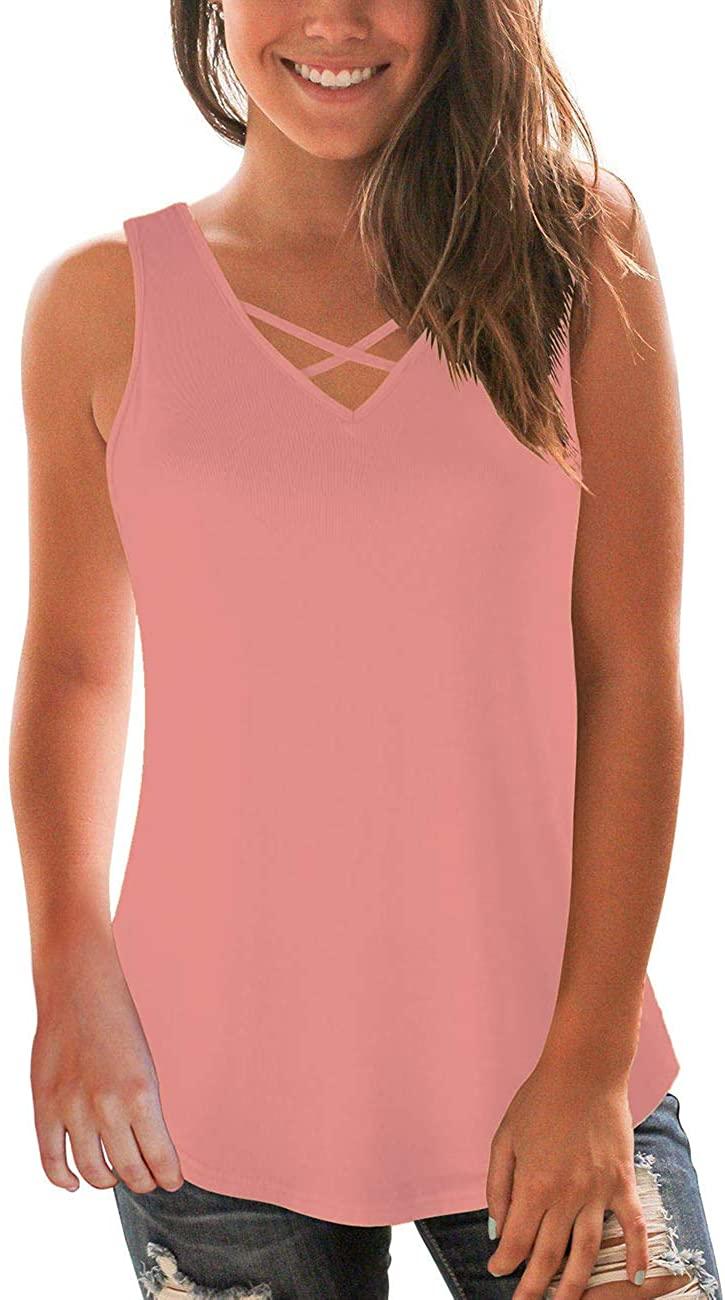 NIASHOT Women's Sleeveless V-Neck Criss Cross Soft Casual Summer Tank Tops