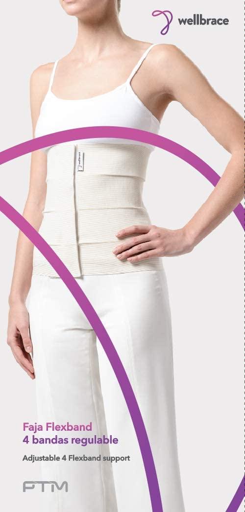 PTM Wellbrace Elastic Abdominal Binder - 4 Panel - for Women & Men - Adjustable Compression Wrap - Support Belt (Medium)