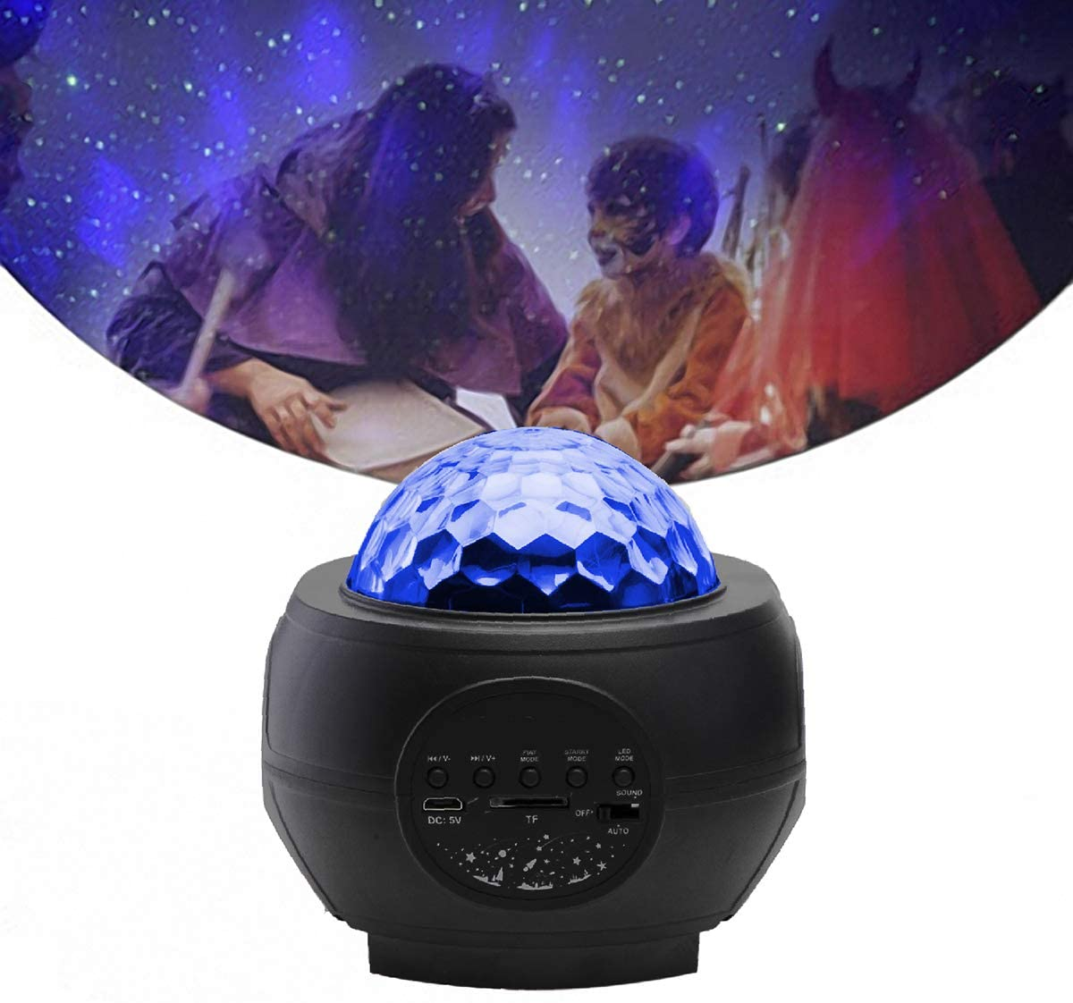SOONHUA Night Light Projector, USB Starry Galaxy Water Wave Projector Night Light Wireless Music Player Sound-Activated Projector for Home Party Baby Kids Bedroom