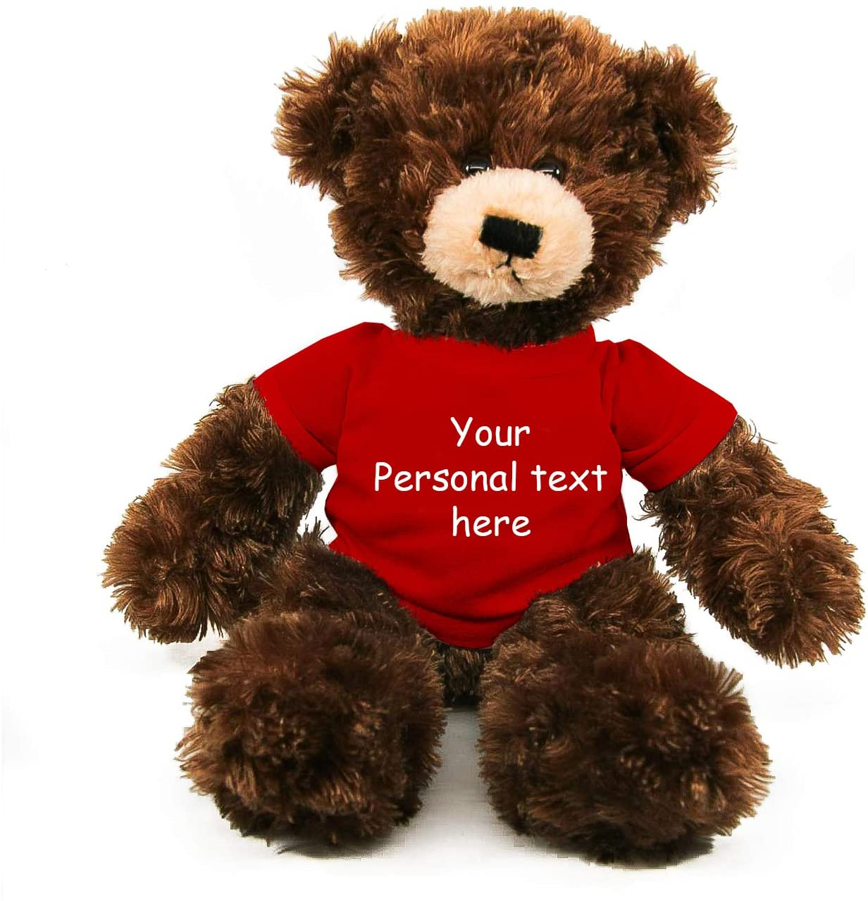 Plushland Chocolate Brandon Teddy Bear 12 Inch, Stuffed Animal Personalized Gift - Custom Text on - Great Present for Mothers Day, Valentine Day, Graduation Day, Birthday (Red Shirt)