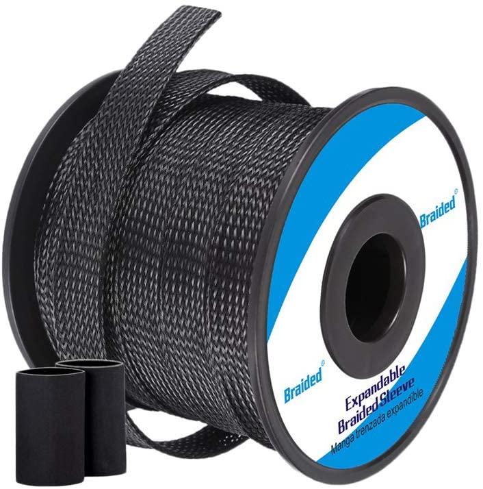 Wire Loom Braided Wire Sleeve PET Braided Wire Loom 0.25 Inch Pet Braided Cable Sleeve 100FT PET Expandable Braided Sleeving, Black