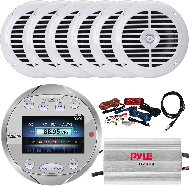 Sound Around Lanzar Waterproof Bluetooth Marine Digital Media Silver Stereo Radio Receiver, 6 x Pyle 6.5'' Full-Range 120W Boat Speakers, 4-Channel 400W Amplifier w/Wiring Kit, Radio Antenna