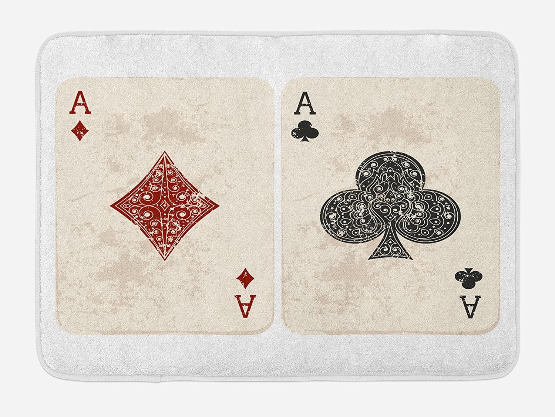 Lunarable Lifestyle Bath Mat, Ace of Diamonds Clubs Poker Cards Game Grunge Gambling Fortune Illustration, Plush Bathroom Decor Mat with Non Slip Backing, 29.5
