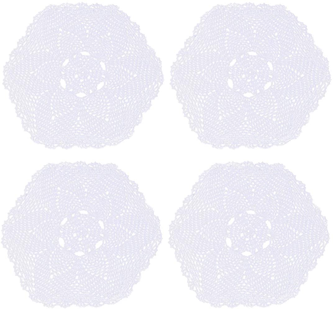 kilofly Crochet Cotton Lace Table Placemats Doilies Pack, 4pc, White, 12 inch