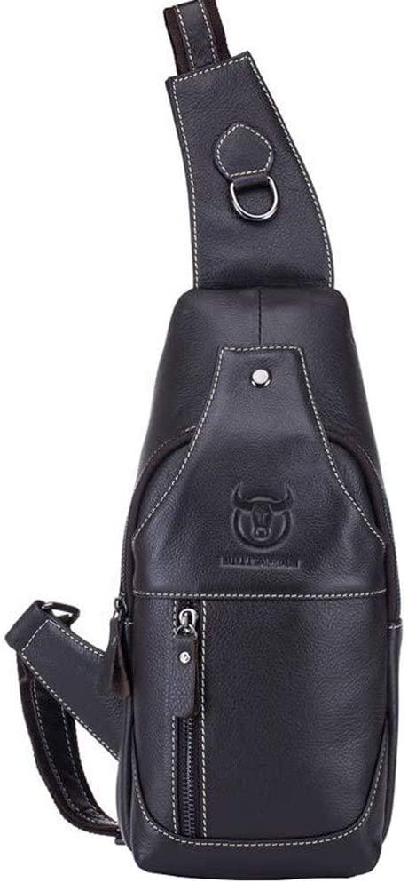 SDINAZ Men's Chest bag shoulder bag messenger bag First layer cowhide casual business fashion bag US870 Black