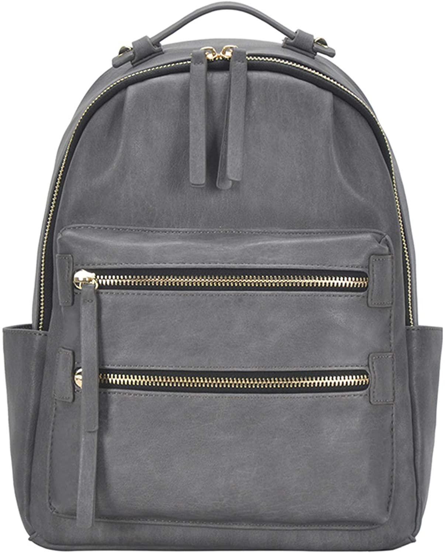Madison West Kylee - Utilitarian Multi Pocket Travel Fashion PU, Faux, Vegan Leather School Bag Womens Backpack Bag