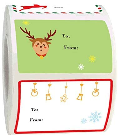 Christmas Gift Tag Stickers Label2X3 inch Christmas Festival Birthday Wedding Holiday Present Decor Write on Name Labels 300 pcs