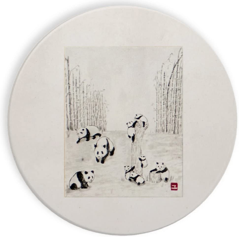 Pandas Climbing Log Mural Yuya Negishi YUYART - Ceramic Stone Coaster Coasters Set of Four