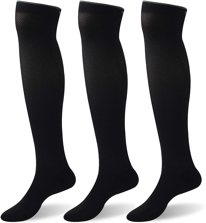 Facool Compression Socks for Men,Women,15-20mmHg Pressiure Medical Grade Knee High Graduated Stockings for Maternity,Pregnancy,Varicose Veins,Relief Shin Splints,Edema(3 Pairs,Black,Large)