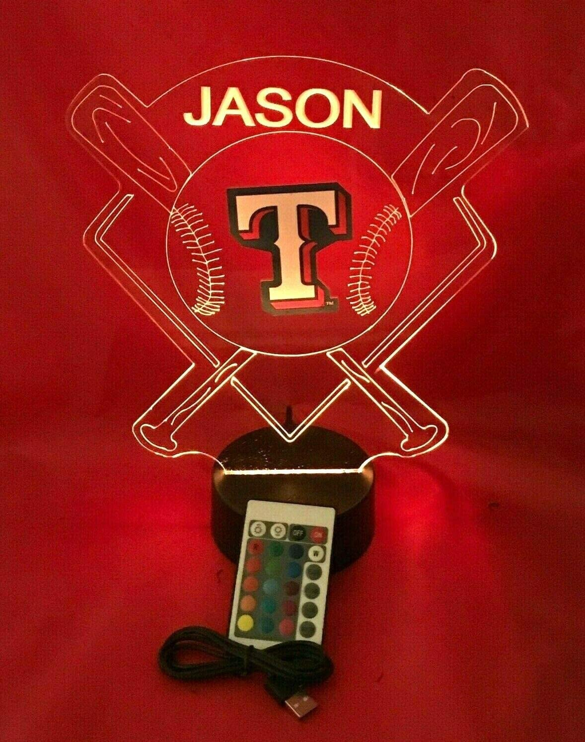 Baseball Night Light Up Lamp LED Lamp Personalized Handmade Stadium with Bats Free Personalization and Remote, Men Man Boys Girls Sports Gift, 16 Color Options, and Variations! (TX Rangers)