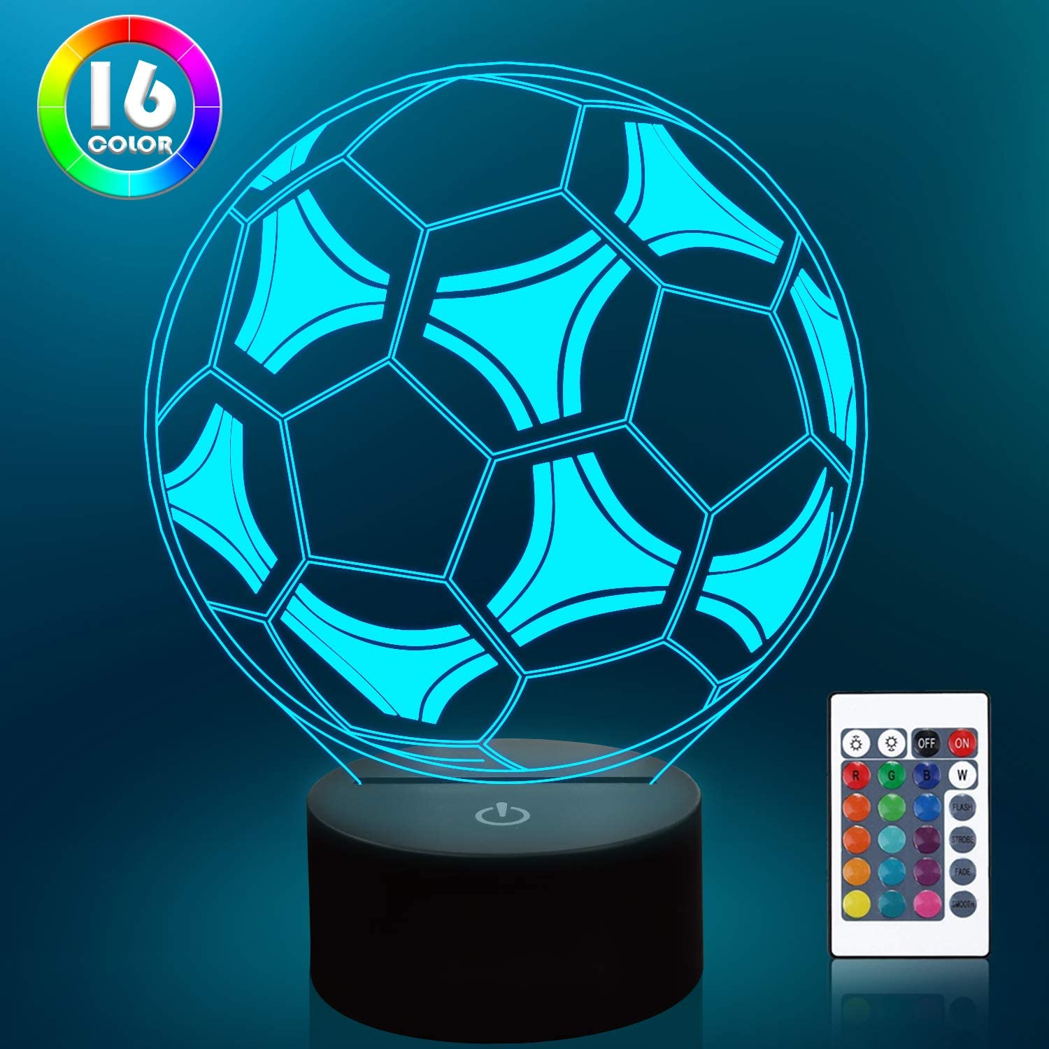 Lampeez Kids 3D Soccer Lamp Football Night Light Optical Illusion Lamp with 16 Colors Changing Remote Control Birthday Xmas Valentine's Day Gift Idea for Sport Theme Fan Boys Girls