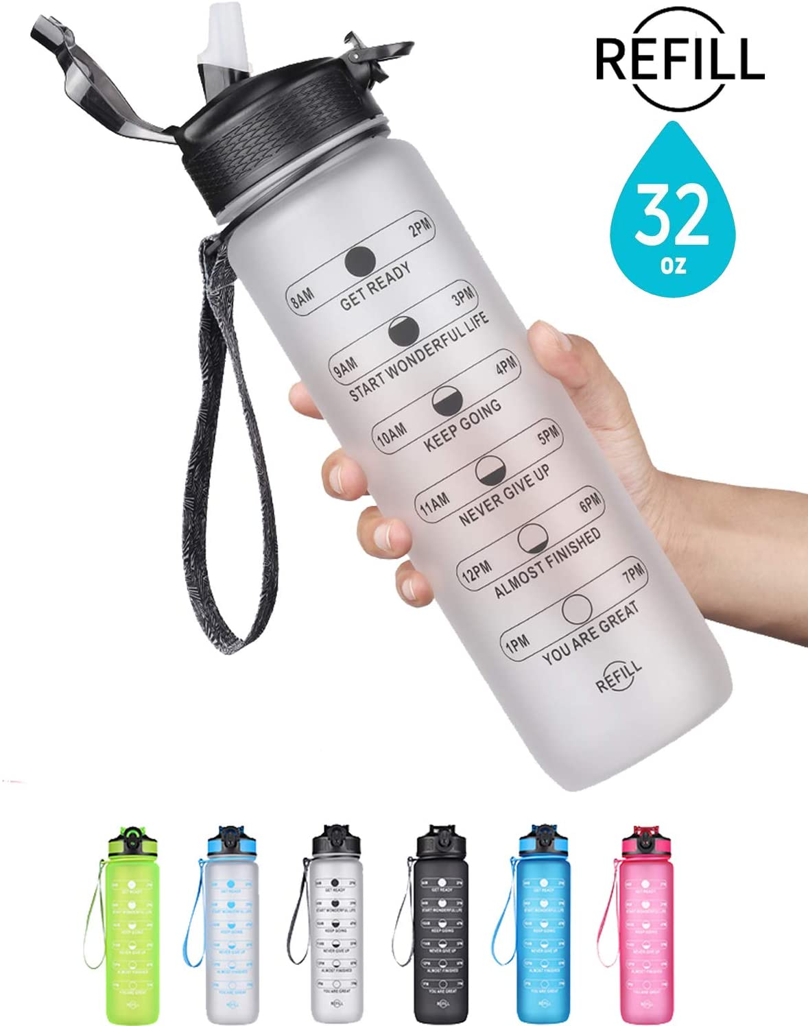 SLUXKE 32oz / 1 Liter Motivational Sports Water Bottle with Time Marker & Silicone Straw,BPA Free,Non-Toxic,Durable, 1 Click Open for Fitness,Gym and Outdoor Sports