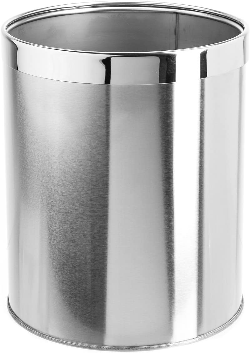 Bennett Small Office Trash Can, Open Top Small Wastebasket Bin, Stainless Steel Garbage Can, Detach-A-Ring' Metal Waste Basket for Powder Room, Bathroom, Home, Modern Home Décor (Dia. 8.8 x H 10.6)