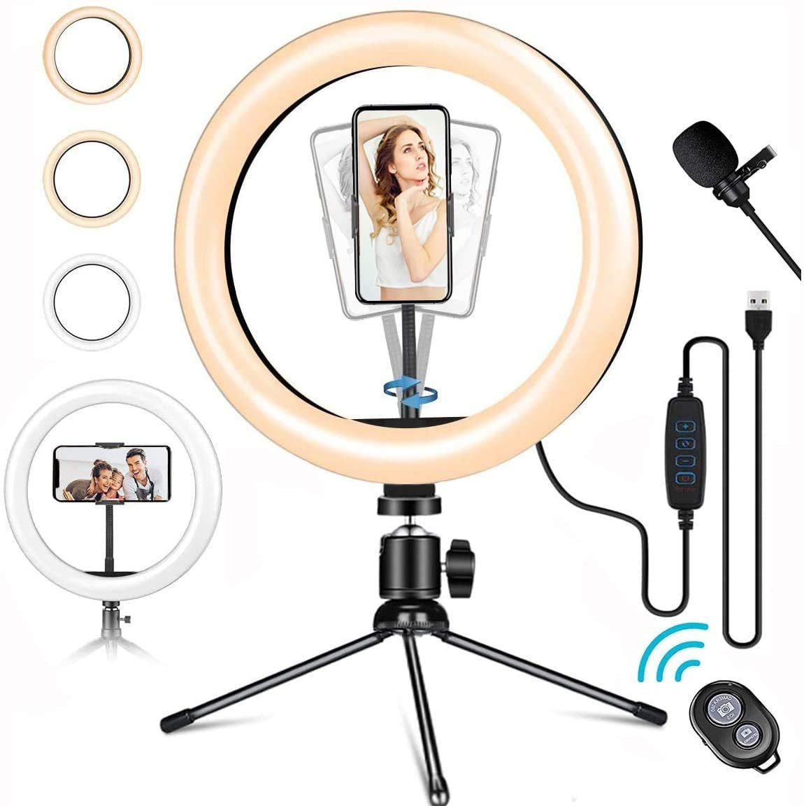 LED Ring Light with Mic, 10'' 10 Brightness Dimmable Ringlight with White/Soft/Warm 3 Light Modes for Makeup Selfie YouTube TikTok Live Streaming Record Videos (Metal)