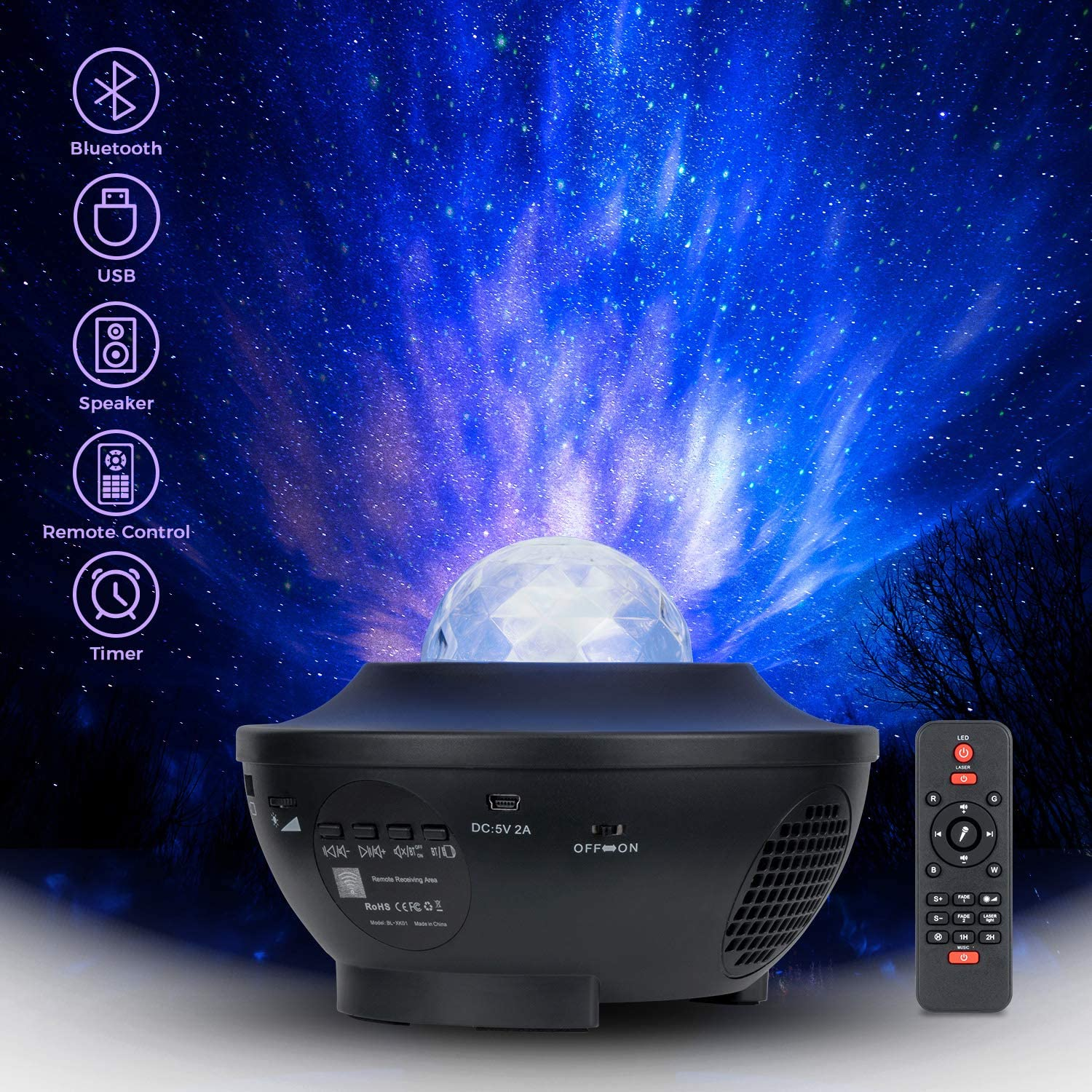 Galaxy Projector Star Projector Nebula Ocean Wave Projector Starry Night Light Projector Laser Star Light Projector for Bedroom with Bluetooth Speaker and Remote Control