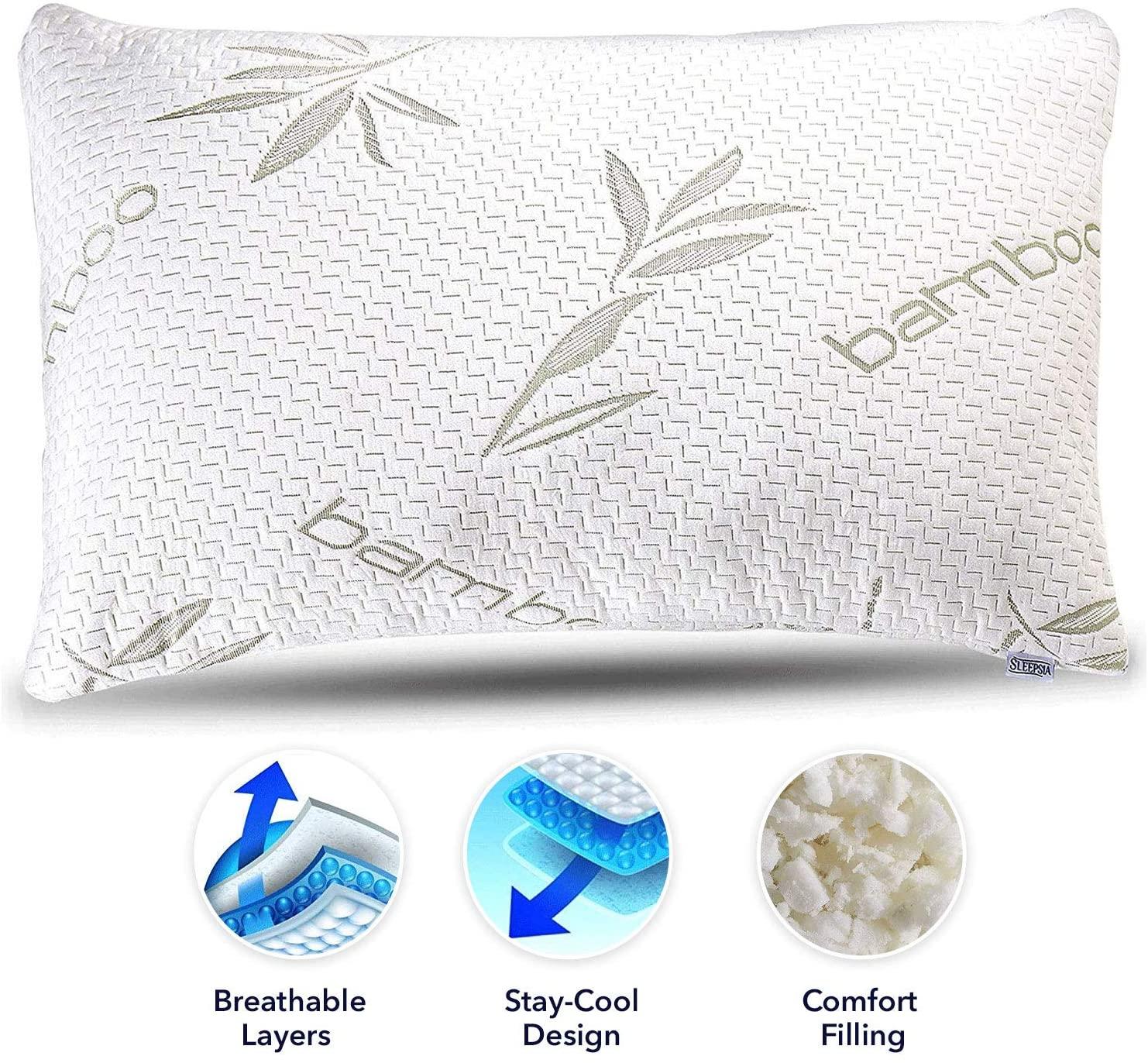 Sleepsia Bamboo Pillow - Premium Pillows for Sleeping - Memory Foam Pillow with Pillow Case - King Size Pillow (King)