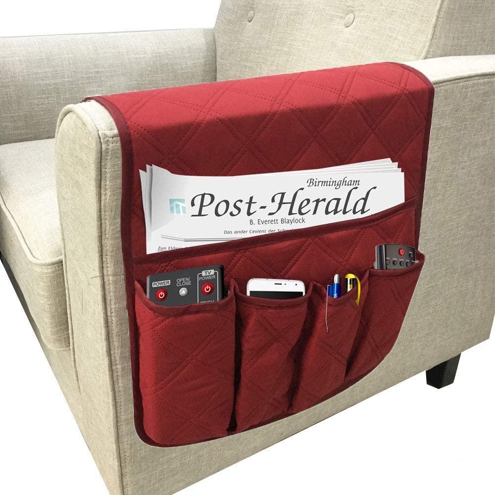 Waterproof Sofa Armrest Storage Organizer for tablets, TV remotes, phones 4 colors Storage Organizer 35 inch13 inch (Claret)